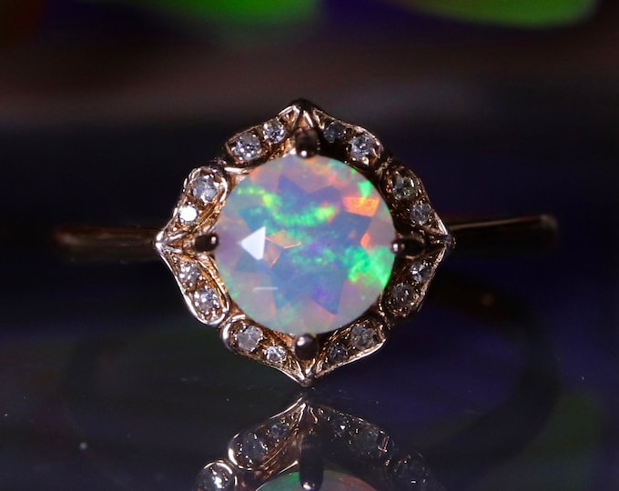 Gold opal ring, fire opal ring, natural opal, birthstone Jewelry, engagement ring, opal wedding ring, gift for her, promise ring, gold ring