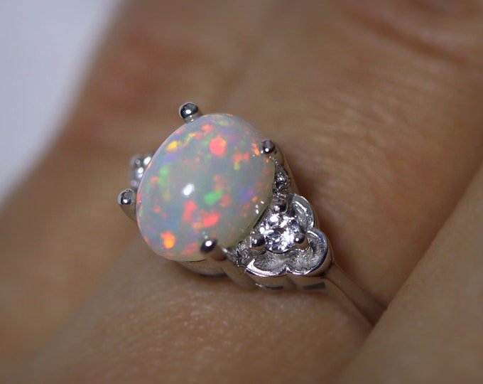 White opal ring, fire opal ring, opal jewelry, engagement rings, unique ring, gift for her, birthday gift, anniversary ring, opal rings
