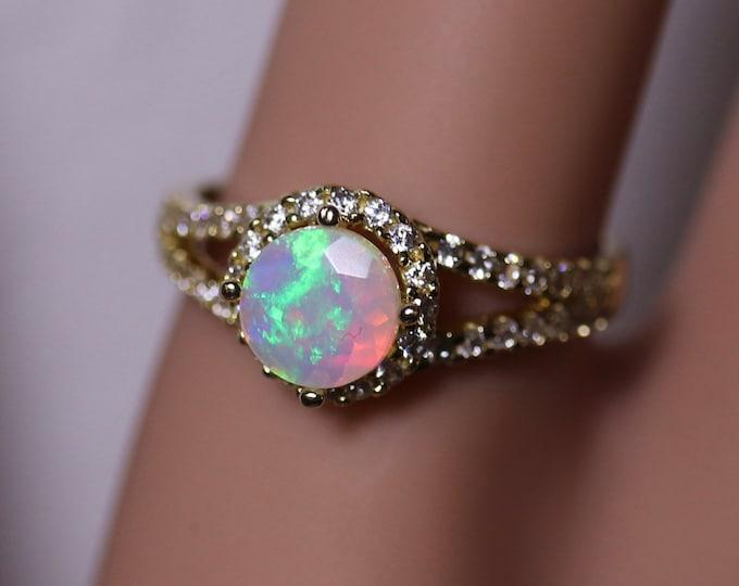 14K opal ring, opal engagement ring, halo diamond ring, wedding ring, opal bridal ring, bridal set, natural opal ring, gold diamond ring,