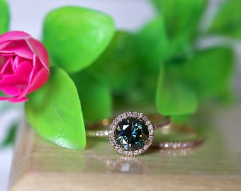 Rose gold ring, natural diamonds, round halo ring, dainty gold ring, blue moissanite, 14K gold, bridal set,