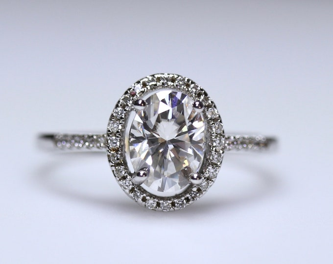 Moissanite halo ring, 925 sterling silver, DEF white moissanite, Forever One, moissanite solitaire, moissanite bridal, moissanite halo ring