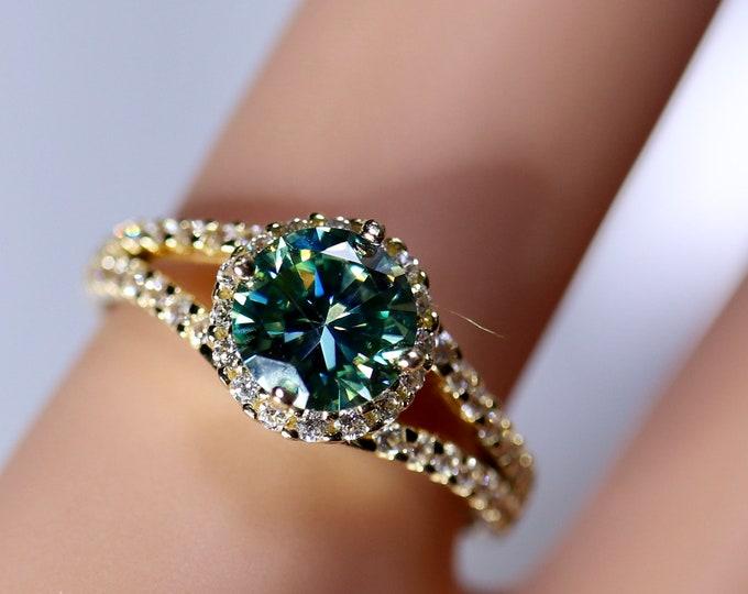 Gold moissanite ring, blue moissanite, purple moissanite, 14K gold ring, rings for women, moissanite jewelry, October birthstone, ring