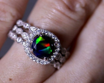 Black opal ring set, halo black opal ring, halo engagement ring, stackable rings, cushion halo, red fire opal, black opal ring, bridal set
