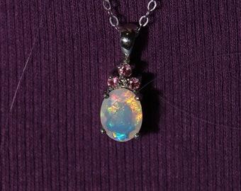Fire opal necklace, 925 sterling silver, fire opal necklace, opal pendant, shimmering opal, rainbow opal, anniversary gift, fire opal