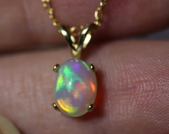 Rare opal necklace, fire opal pendant, gold opal pendant, gift for her, birthday jewelry, birthstone October, opal solitaire, gold pendant