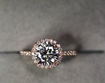 Gray moissanite, moissanite engagement, halo gold ring, 14K gold, Off White moissanite, bridal set, wedding jewelry, anniversary gift,