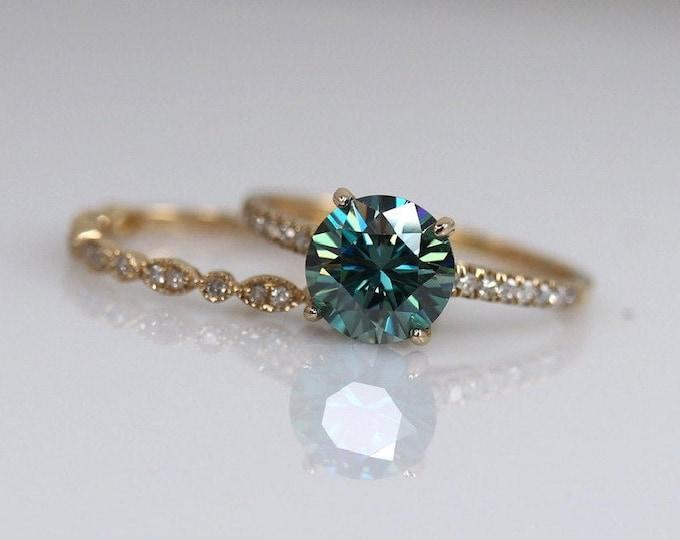 Moissanite gold ring, blue moissanite, blue moissanite ring, bridal set, blue gemstone ring, ring set, Art Deco ring set, diamond paved band