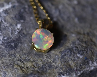 Opal pendant necklace, fire opal, birthday gift, October birthstone, Gold opal necklace, fire opal, round opal pendant, silver necklace