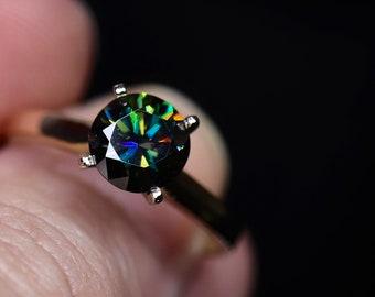 Moissanite bridal set, engagement rings, genuine moissanite, bridal set, wedding jewelry, unique wedding, black moissanite, bridal rings