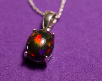 Black opal necklace, fire opal pendant, solid black opal, silver opal jewelry, gift for her, dark gemstone, natural fire opal, black opal