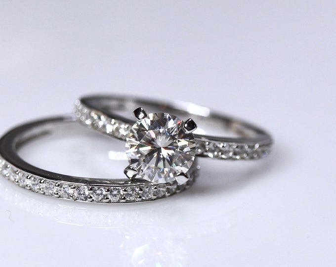 White moissanite ring, bridal set, 925 sterling silver, engagement ring set, wedding ring set, classic engagement ring, white gemstone ring
