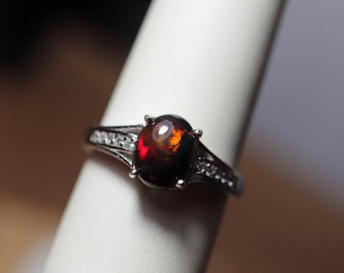 Black opal ring, black fire opal, opal cabochon, natural fire opal, black gemstone, silver opal ring, opal promise ring, birthstone ring,