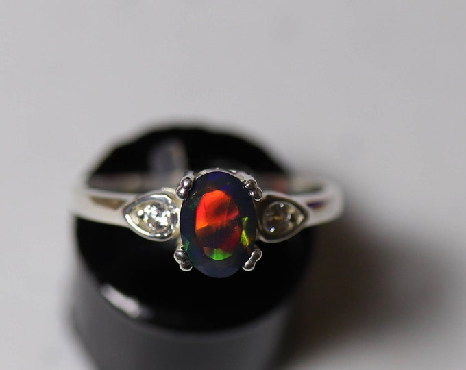 Black opal engagement ring, natural fire opal ring, silver opal ring, black fire opal ring, delicate opal ring, black opal ring, fire opal