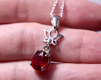 Natural ruby necklace, ruby pendant, unique necklace, silver ruby necklace, birthday gift, ready to ship, late gift, July birthstone