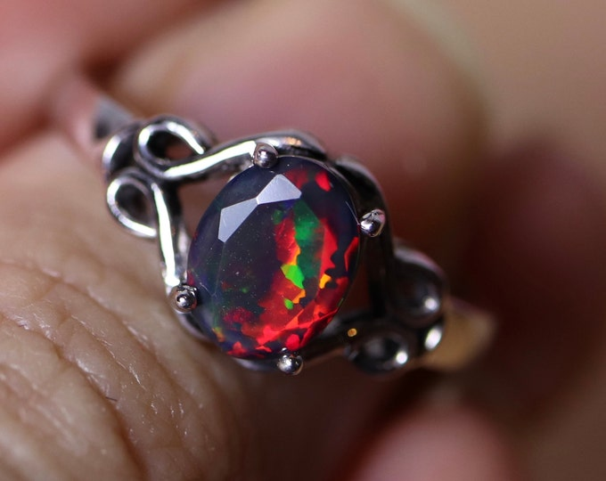 Celtic opal ring, black fire opal, silver opal ring, Celtic knot design, genuine fire opal, anniversary gift, birthday gift, Celtic jewelry