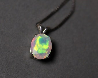 Natural opal pendant, rainbow opal necklace, genuine fire opal, glowing opal, unique necklace, jewelry gift, birthstone jewelry, rare opal