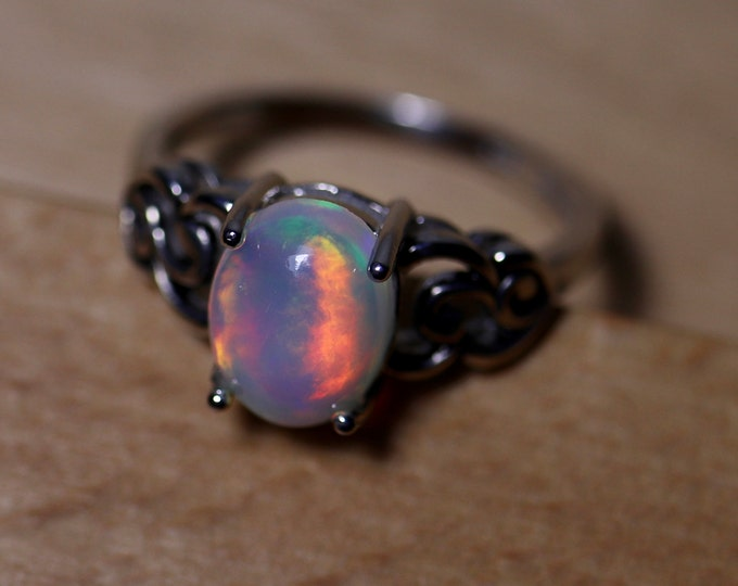 FABULOUS true rainbow fire natural opal ring, silver opal ring, genuine fire opal ring, fire opal cabochon ring, rainbow fire opal, opal