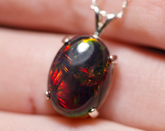 Large opal pendant, genuine fire opal, black opal necklace, graduation gift, Mother's Day gift, 10th anniversary, natural black opal,  opal