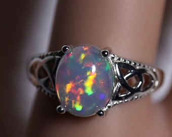 Natural opal ring, silver opal ring, Celtic ring, anniversary ring, statement ring, rainbow fire opal, wedding ring, welo opal jewelry
