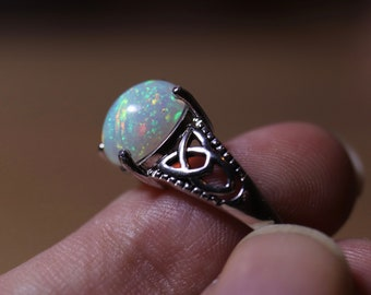 Opal ring, natural opal ring, fire opal ring, opal jewelry, anniversary gift, ring for her, Celtic rings, 925 sterling silver, rainbow opal