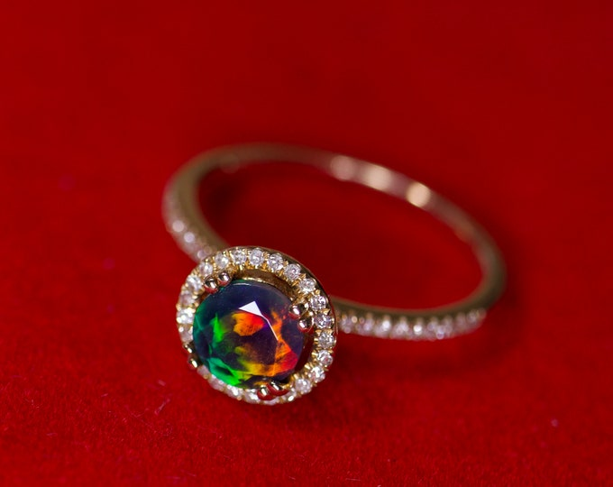 6mm black opal halo ring, natural fire opal, fire opal wedding, opal bridal rings, gold engagement ring, halo opal ring, black fire opal 14k