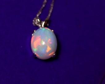 Natural opal necklace, fire opal pendant, white opal necklace, glowing fire opal, rainbow fire opal, large opal pendant, pink color opal