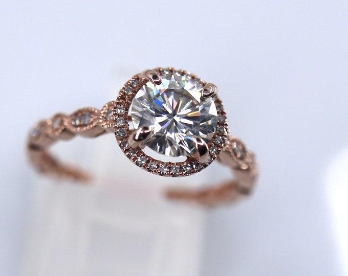 Halo engagement ring, moissanite ring, DEF White moissanite, Forever One, anniversary present, genuine white moissanite, halo bridal set
