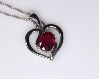 Genuine ruby pendant, Heart-shaped ruby, one of a kind design, romantic gift, necklace for her, rhodium plated, last minute gift, ships fast