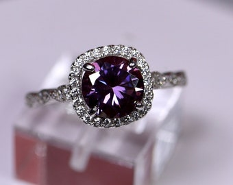 Purple moissanite ring, cushion halo ring, unique wedding ring, 925 sterling silver, round brilliant cut, wedding band, diamond paved ring