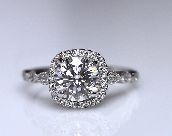Cushion moissanite ring, halo engagement, bridal set, white moissanite, ring for her, Art Deco wedding band, wedding ring set, halo ring