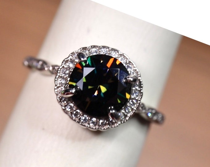 Black moissanite ring, silver engagement style , halo bridal set, white gold plated finish, 925 sterling silver, Simulated diamonds