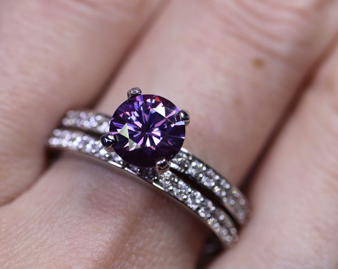 Purple moissanite, bridal set, moissanite ring, engagement rings, 925 sterling silver, moissanite ring set, wedding ring, unique ring