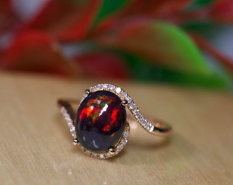 Black fire opal ring, rare black opal, 14k gold black opal, unique opal, large black opal ring, red fire opal, rings for her, fire opal