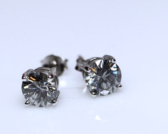 Gray moissanite studs, moissanite earrings, silver studs, gray moissanite, moissanite set, gift for her, graduation gift, moissanite ring