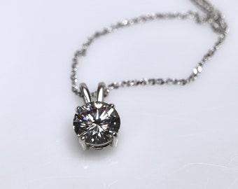 Gray moissanite, moissanite necklace, gray moissanite pendant, moissanite set, silver pendant, blue moissanite, moissanite jewelry, rhodium