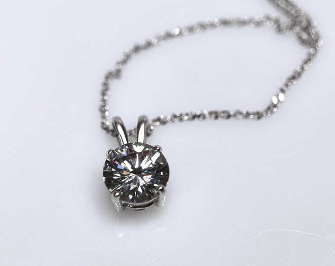 Gray moissanite, moissanite necklace, gray moissanite pendant, moissanite set, silver pendant, blue moissanite, moissanite jewelry, rhodium