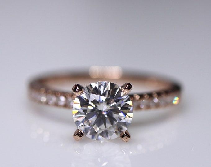 White moissanite ring, rose gold bridal set, forever one moissanite, diamond paved ring, moissanite solitaire classic engagement ring set