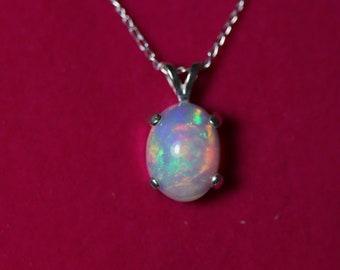 White opal necklace, genuine fire opal, opal jewelry, classic opal necklace, birthday jewelry, gemstone necklace, 14k, fire opal necklace