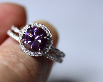 Purple moissanite, silver halo ring, engagement ring, wedding ring, diamond  band, bridal set, unique wedding ring, round halo ring