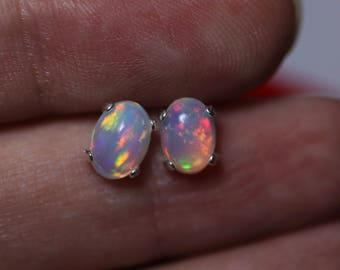 Rainbow fire opal stud earrings, glowing opal earrings, fire opal, natural opal earrings, silver opal studs, genuine opal, earrings