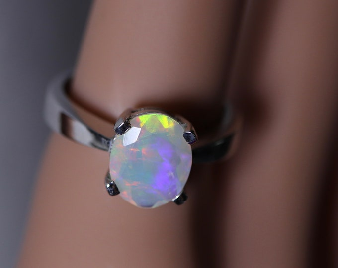 Rainbow opal ring, natural fire opal, glowing rainbow opal, gift for her, 925 sterling silver ring, opal jewelry set, fire opal rings