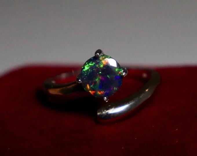 Black opal ring, fire opal, opal ring, natural opal ring, natural black opal, silver ring, black Opal, black Opal jewelry, red fire, opal