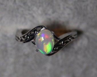 Natural opal ornate ring, fire opal vintage ring, genuine white opal, Victorian style, one of a kind design, fluorescent glowing opal,