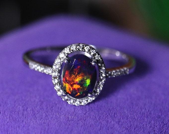 Black opal halo ring, black fire opal ring, opal bridal ring, black opal wedding, halo opal ring, black opal solitaire, silver opal rings