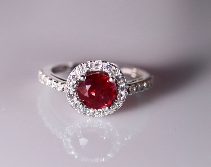 14k white gold ruby ring, natural ruby, halo ruby ring, gold ruby ring, ruby engagement, diamond paved, ring for her, last minute gift,