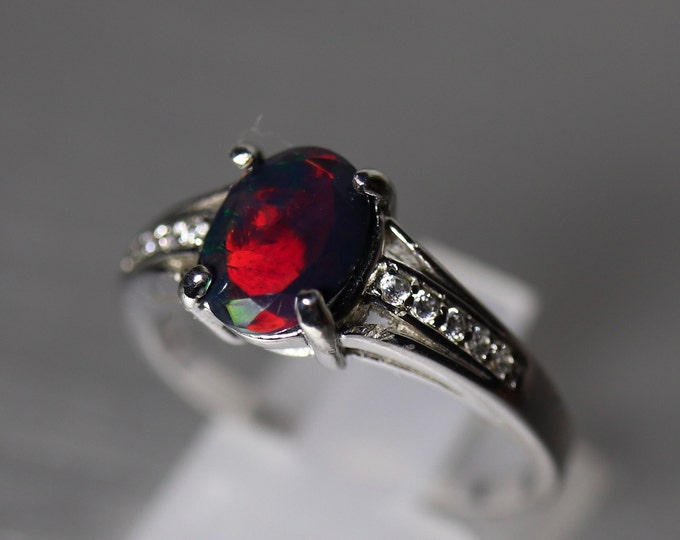 Black fire opal ring, opal engagement ring, red fire black opal, silver opal ring, natural fire opal Jewelry, anniversary ring, opal rings