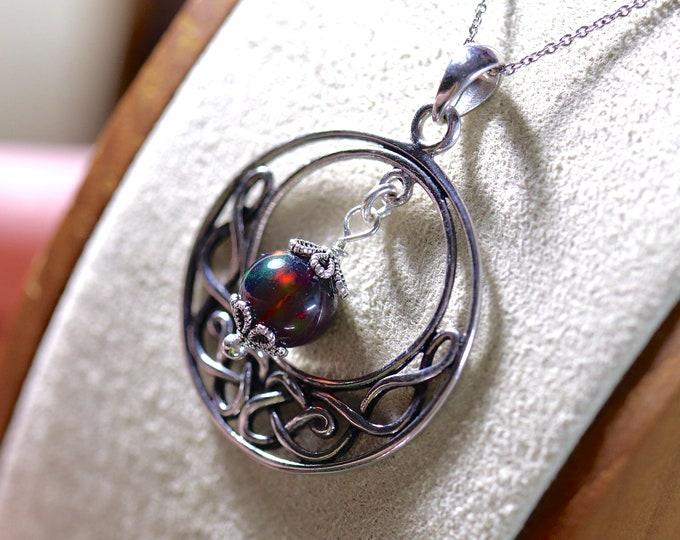 Black opal necklace, opal bead pendant, statement necklace, black opal bead, Victorian necklace, fire opal necklace, vintage pendant
