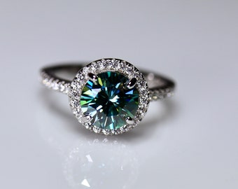 Halo engagement ring, round moissanite, blue moissanite, matching band, eternity band, wedding bands, rings for women, halo ring, bridal