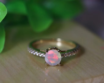 Fire opal gold ring, opal engagement ring, gold bridal ring, bridal set, opal bridal ring, wedding ring set, unique wedding ring, opal rings