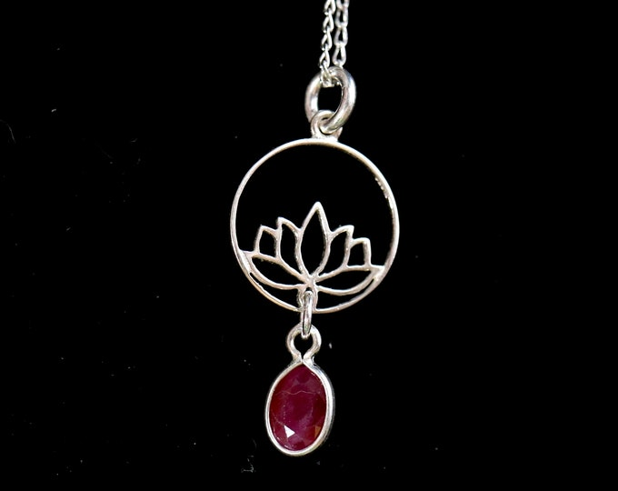Ruby pendant necklace, silver ruby jewelry, ready to ship, July birthstone, last minute gift, birthday gift, unique item, genuine ruby
